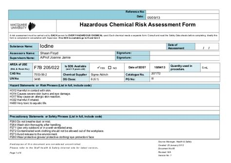 Chemical Risk Assessment Template by Msds Iodine