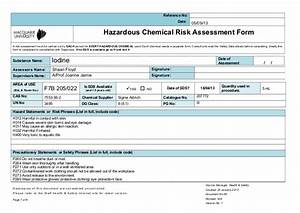 msds iodine With chemical risk assessment template