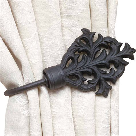 curtain tie back black wrought iron traditional window