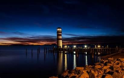 Lighthouse Night Coast Reflection Widescreen Desktop 10wallpaper