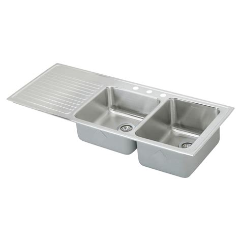 drop in stainless steel sink with drainboard shop elkay gourmet 22 in x 54 in lustertone double basin