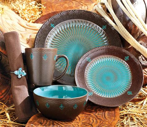 dinnerware kitchen turquoise sets western rustic brown teal plate dishes decorations furniture reviewed southwestern janeskitchenmiracles southwest kitchenaid knife cooking tuna