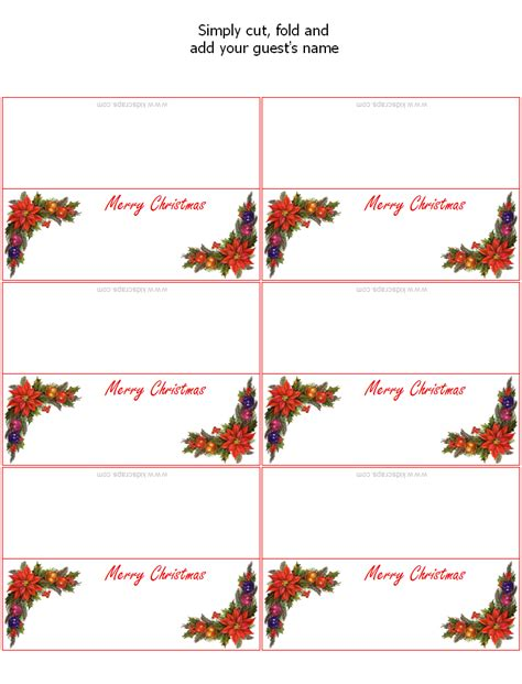 free printable christmas table place cards template free printable christmas place cards holiday party