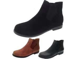 womens chelsea boots uk womens faux leather suede flat low gusset chelsea ankle boots winter shoes size ebay