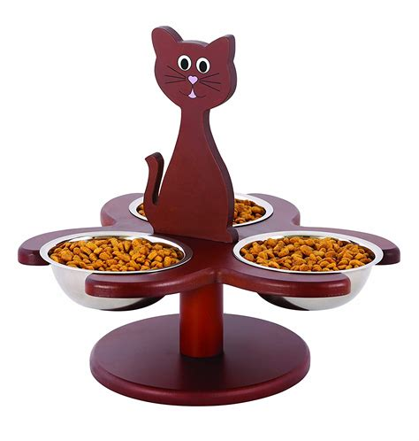 Kitty Cat Food Bowls  3 Raised Cat Dishes W Stand