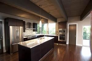 white galaxy granite Kitchen Modern with dark wood