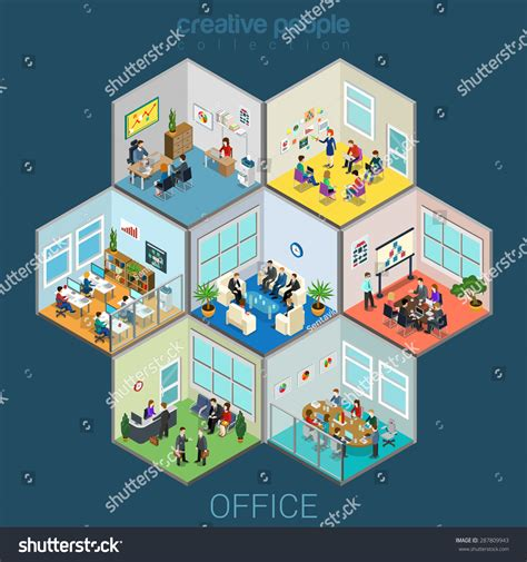 flat  isometric abstract office interior stock vector