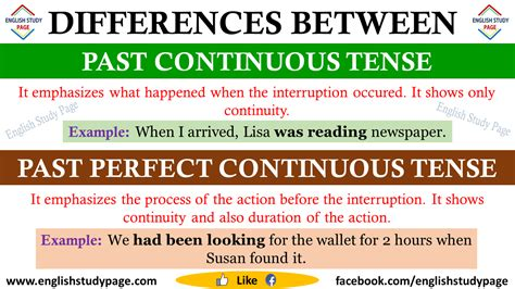 Differences Between Past Continuous Tense And Past Perfect Continuous Tense  English Study Page