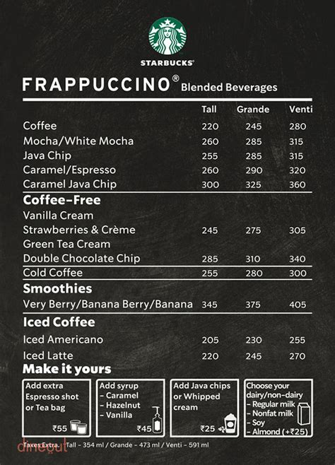Check out the starbucks menu with prices, sunday to monday operating hours, starbucks holiday hours open and closed in 2018, customer service phone number and address starbucks restaurant menu prices are higher than what you would expect to pay for a coffee at other fast food restaurants. Menu of Starbucks, Park Street, Kolkata | Dineout