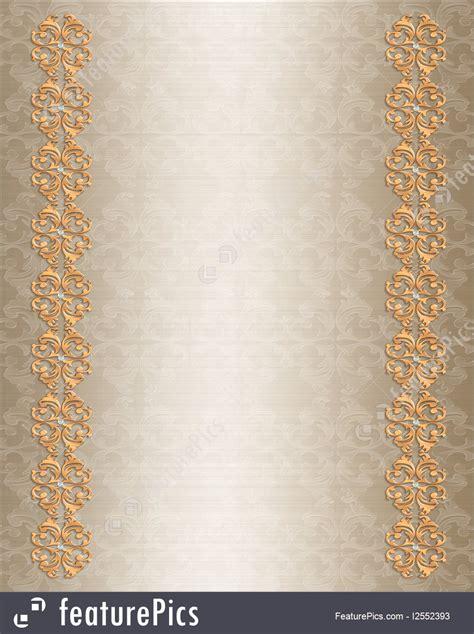templates wedding invitation border gold stock