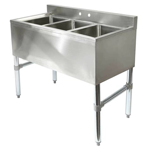 Three Compartment Commercial Kitchen Sink  Stainless