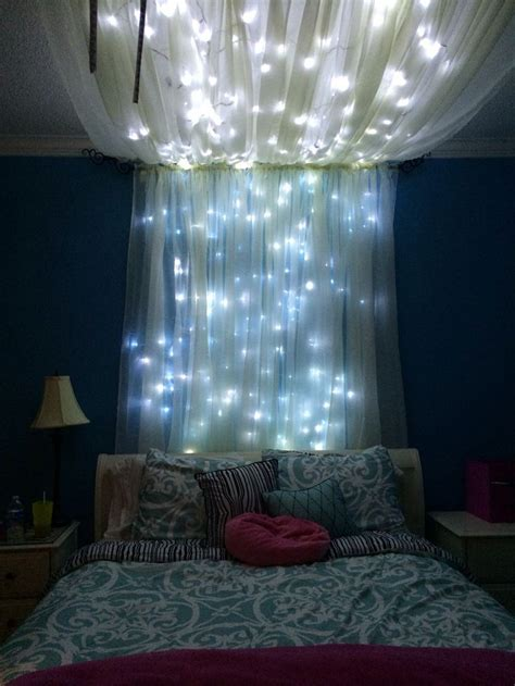 blue lights in bedroom white cotton bed sheet