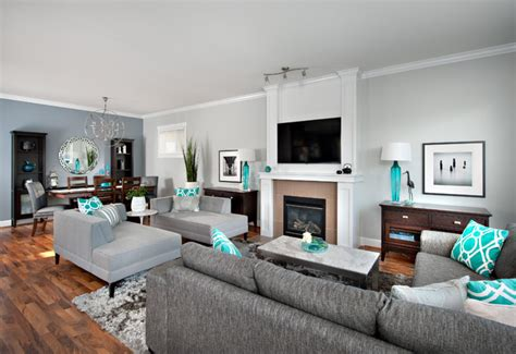 Grey And Turquoise Living Room by Steveston Character Home Contemporary Family Room