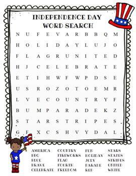 Independence Day Word Search (Color and BW versions) by ...