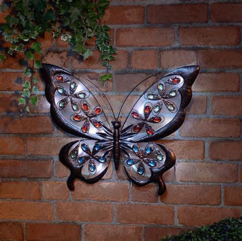large solar metal wall butterfly for garden or home ebay