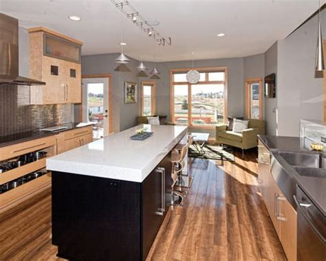 Grey With Wood Trim   Houzz