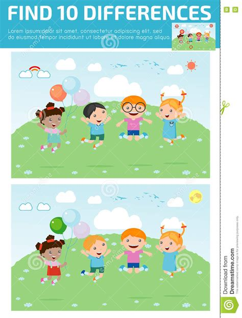 find differences for find differences brain 173 | find differences game kids find differences brain games children game educational preschool vector 73228029