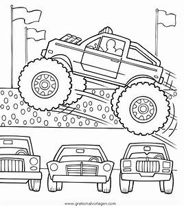 Monstertruck 5 Gratis Malvorlage In Lastwagen