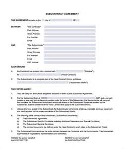 Free Downloadable Excel Templates Subcontractor Contract Template 10 Documents In Pdf