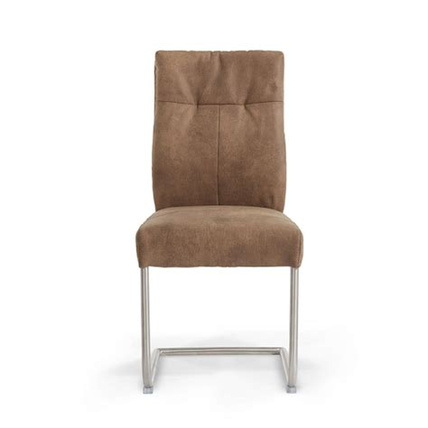 farren cantilever dining chair in brown faux leather 30977