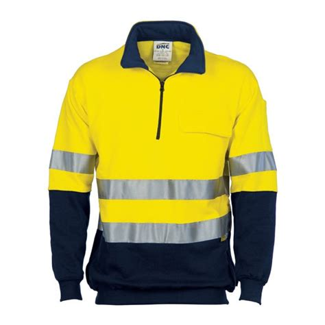 HiVis Two Tone 1/2 Zip Cotton Fleecy Windcheater with 3M R/Tape - Promotional Centre Australia