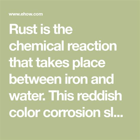 chemical rust stains iron reaction reactions clothes water ehow metal damage surface getting