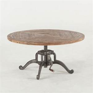 Industrial Round Coffee Table Recycled Wood & Iron