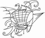 Steampunk Coloring Airship Embroidery Patterns Urban Steam Motifs Victorian Applique Threads Urbanthreads Machine Subcultures Styles Awesome Unique sketch template