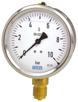 wika  analogue positive pressure gauge bottom entry bar connection size