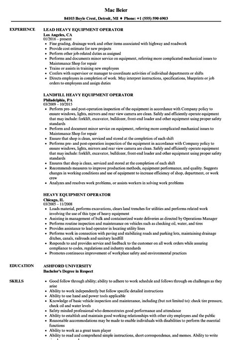 Heavy Equipment Operator Skills Resume by Resume For Heavy Equipment Operator Bijeefopijburg Nl