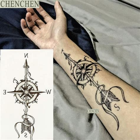temporary tattoo sticker  body art compass arrow  men