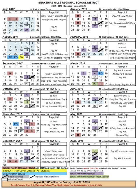 school calendar berkshire hills regional school district