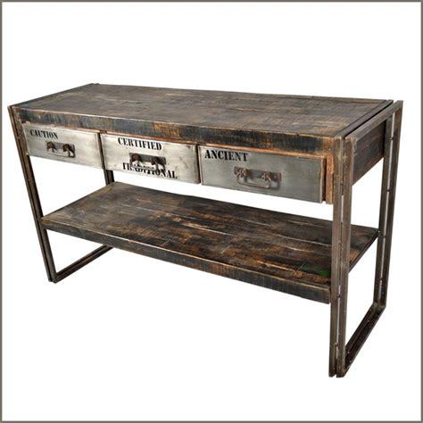industrial sofa table industrial museum 3 drawer reclaimed wood iron Industrial Sofa Table