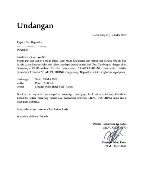 Contoh Undangan Resmi Karyawan by Surat Undangan Pribadi