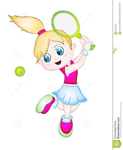 cartoon girl playing tennis stock vector illustration  lawntennis isolated