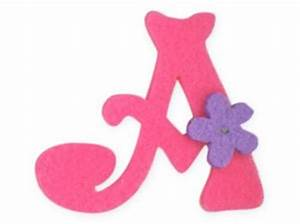 Pink Felt Alphabet Letters iron on motif Girl Letter A ...