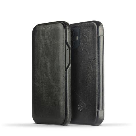 Novada Genuine Leather iPhone 12 Mini Case - Flip Cover Black