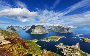 norway, scenery, mountains, rivers, sky, lofoten, clouds, nature