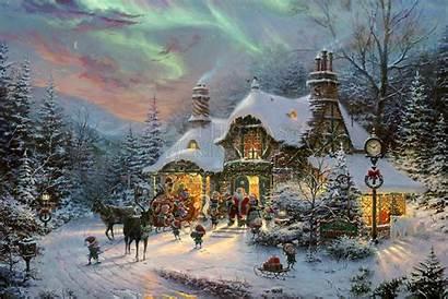 Christmas Night Before Santa Kinkade Thomas Canvas