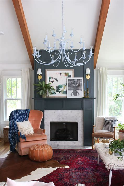 layered living room reveal home fireplace eclectic