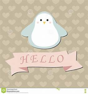Cute Penguin Baby Shower Card Vector Illustration ...
