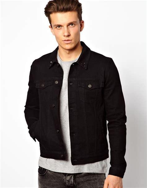 asos fit vest in black asos denim jacket in fit with studded collar