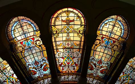 stained glass windows   qvb sydney australia full hd
