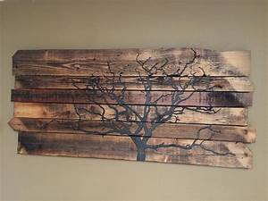 Rustic reclaimed barn wood wall art old farm tree by