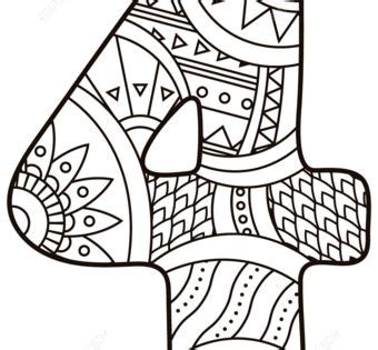 Number 4 Zentangle coloring page from Zentangle Numbers