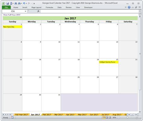 2017 Calendar Template Excel 2017 Excel Calendar Template Calendar Template Excel