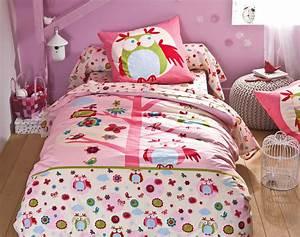Parure De Lit Fille 90x190 : linge de lit enfant motif hibou becquet ~ Teatrodelosmanantiales.com Idées de Décoration