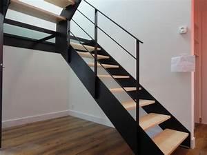 Escalier Metal Et Bois : escalier acier bois et palier interm diaire verre ~ Dailycaller-alerts.com Idées de Décoration