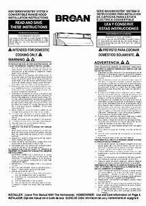 Broan 88000 Series Microtek Ventilation Hood Instructions