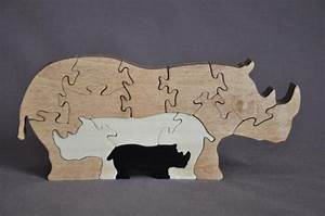 Rhino Rhinoceros 3D Animal Puzzle Wooden Toy Hand Cut with